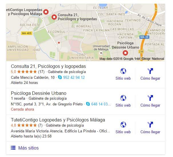 busquedas de psicologos en Malaga en Google